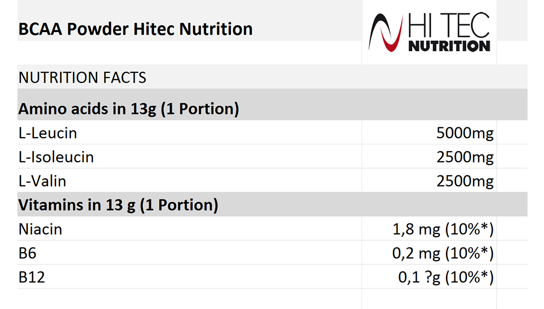 BCAA Powder 500gr Hitec Nutrition