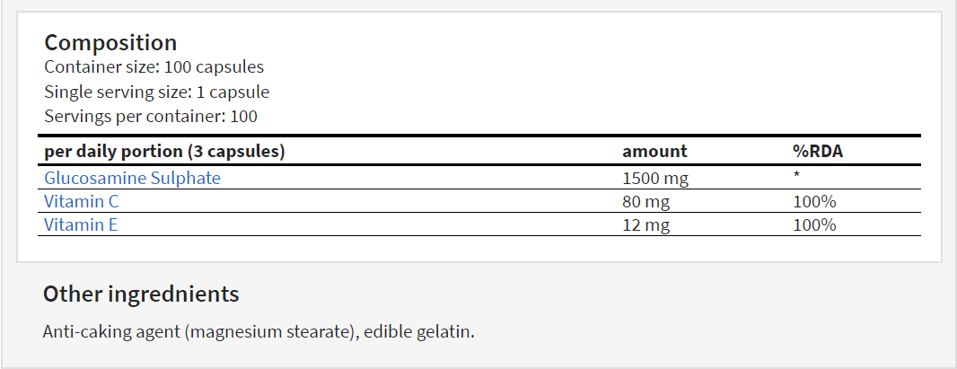Hitec Nutrition Glucosamin 100 caps