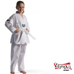 ΣΤΟΛΗ TAEKWONDO UNIFORM OLYMPUS CLUB RIBBED WHITE COLLAR ΛΕΥΚΗ