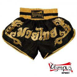 Thaiboxing Shorts Olympus Black Satin Golden Writing