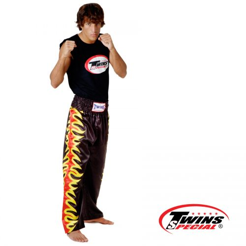 Trousers Twins - Silk Black with Flame