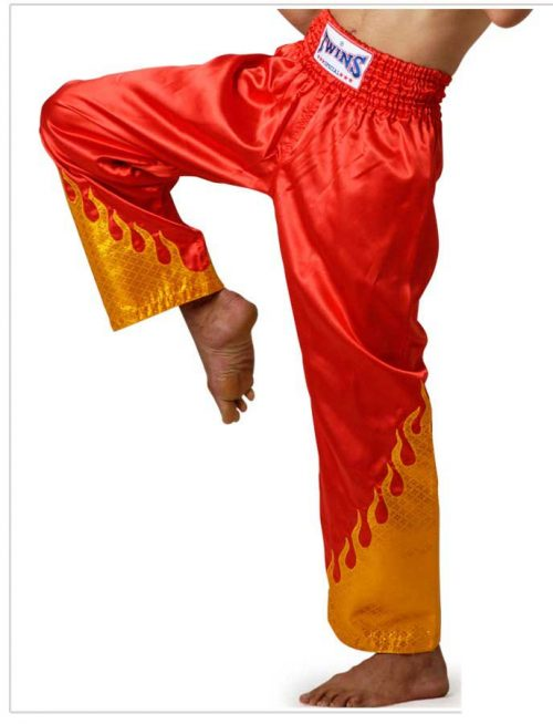 Trousers Twins - Silk Red with Flame