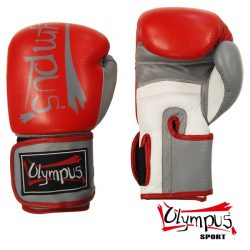 Boxing Gloves Olympus Leather ELITE Red/White/Grey