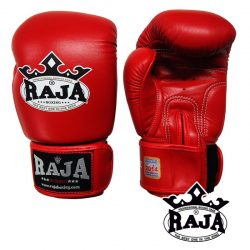 BOXING GLOVES RAJA GENUINE LEATHER RBGV-1 SINGLE COLOR RED-FUX RAJA