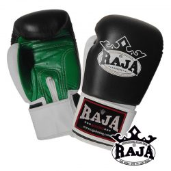 Boxing Gloves RAJA Genuine Leather RBGV-1 Triple Color - Black / White / Green