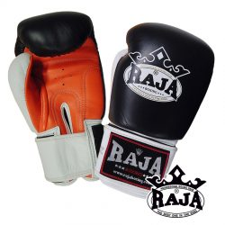 Boxing Gloves RAJA Genuine Leather RBGV-1 Triple Color - Black / White / Orange