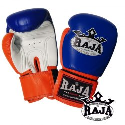 Boxing Gloves RAJA Genuine Leather RBGV-1 Triple Color - Blue / Orange / White