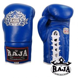 Boxing Gloves RAJA Genuine Leather RBGV-1 Lace-Up COMPETITON - Blue -Red