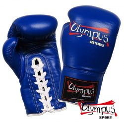 Boxing Gloves Olympus by RAJA Genuine Leather Lace-Up COMPETITON BLUE-RED
