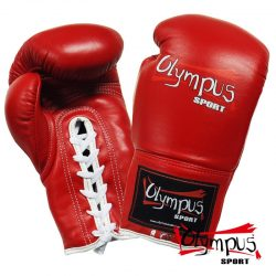 BOXING GLOVES OLYMPUS BY RAJA GENUINE LEATHER LACE-UP COMPETITON - RED