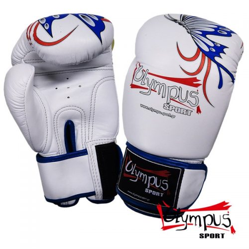 BOXING GLOVES OLYMPUS BY RAJA GENUINE LEATHER BUTTERFLY - WHITE