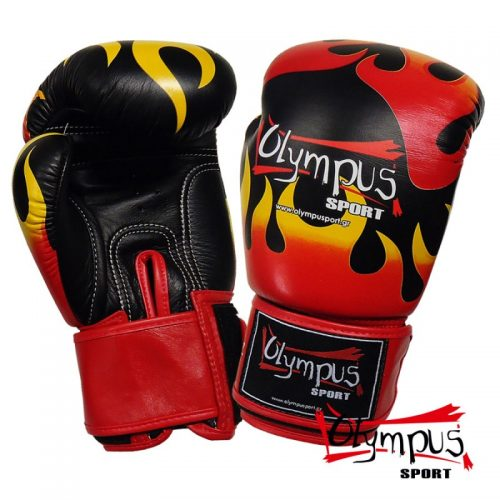 Boxing Gloves Olympus by RAJA Genuine Leather FLAME - Black -