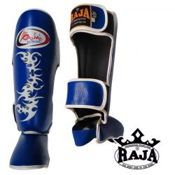 Shin Instep Guard Raja Leather TATTOO - Blue