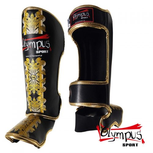 Shin Instep Guard Olympus by Raja Leather HELLAS - Black / Gold