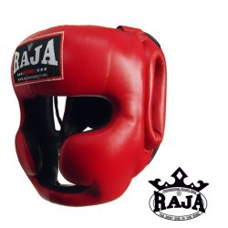 Head Guard Raja Chin and Cheek Protection Leather Red